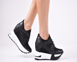 Дамски обувки на платформа текстил черни ISZC-1011360