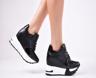 Дамски обувки на платформа еко кожа черни VWWC-1011361