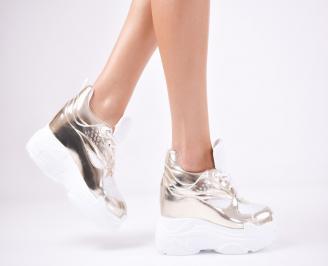 Дамски обувки на платформа еко кожа златисти UEYZ-1011362