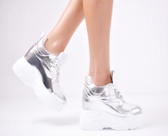 Дамски обувки на платформа еко кожа сребристи JAKN-1011364