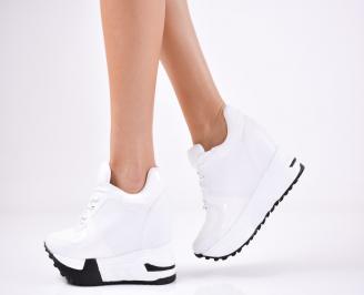 Дамски обувки на платформа еко кожа бели KZKH-1011370