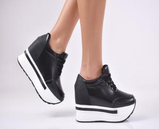 Дамски обувки на платформа еко кожа черни KDKA-1011440