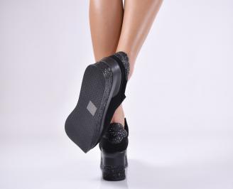 Дамски обувки  на платформа набук черни CDUT-1011441