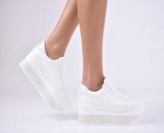 Дамски обувки на платформа еко кожа бели SQNR-1011442