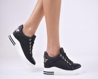 Дамски обувки на платформа еко кожа черни PWJI-1011443