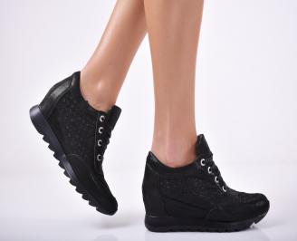Дамски обувки  на платформа естествена кожа черни NVDQ-1011689