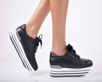 Дамски обувки  на платформа естествена кожа черни XOAX-1011692