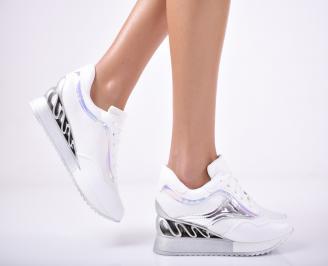 Дамски обувки на платформа еко кожа бели HBSO-1011722