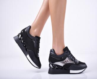 Дамски обувки на платформа еко кожа черни KKKI-1011723