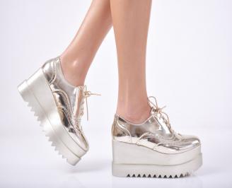 Дамски обувки на платформа еко кожа/лак  златисти PDDZ-1011738