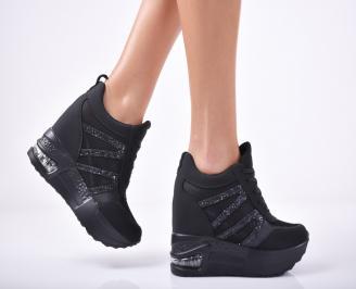 Дамски обувки на платформа текстил черни QVGP-1011817