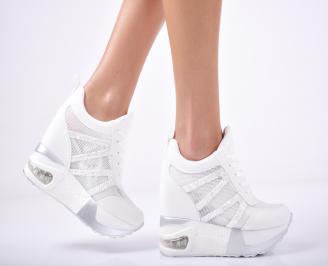Дамски обувки на платформа текстил бели TIMJ-1011818