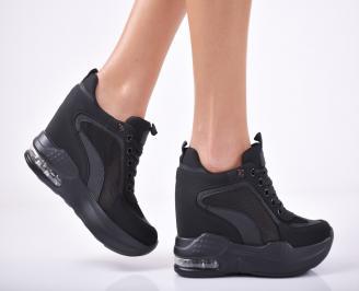 Дамски обувки на платформа текстил черни KWCM-1011821