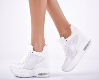 Дамски обувки на платформа текстил бели GTYW-1011822