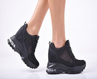 Дамски обувки на платформа текстил черни GPOC-1011823
