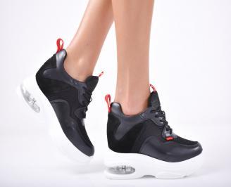 Дамски обувки на платформа еко кожа черни FIUS-1011831