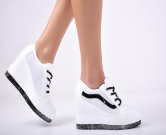 Дамски обувки на платформа еко кожа бели NRDT-1011832