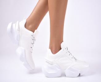 Дамски обувки на платформа еко кожа бели UBLM-1012649