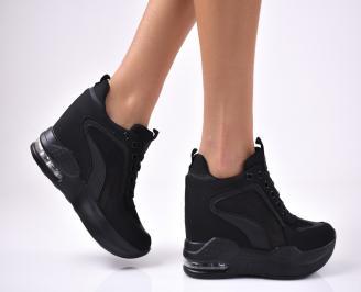 Дамски обувки на платформа текстил черни LELZ-1012670