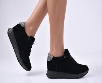 Дамски обувки на платформа еко велур черни MRSG-1012765