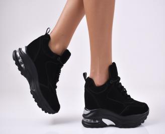 Дамски обувки на платформа естествен велур черни TXTF-1012766