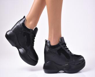 Дамски  обувки  на платформа еко кожа черни DLTV-1012876