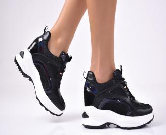 Дамски обувки на платформа еко кожа/текстил черни ITXD-1012878