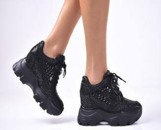 Дамски обувки на платформа текстил черни HGJL-1012914
