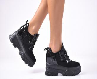 Дамски обувки на платформа еко велур/кожа черни KJNL-1012919