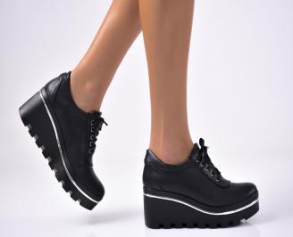Дамски  обувки  на платформа еко кожа черни QXTI-1012979