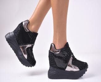 Дамски  обувки  на платформа еко кожа черни BMVM-1013000