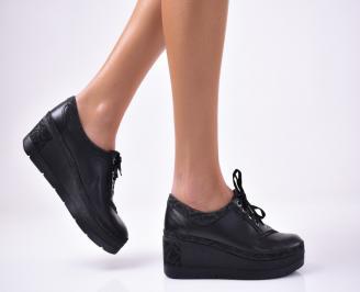 Дамски  обувки  на платформа еко кожа черни BCSR-1013136