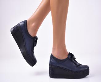 Дамски  обувки  на платформа еко кожа сини YSNZ-1013137