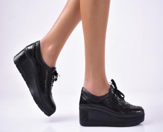 Дамски  обувки  на платформа еко кожа черни EJKX-1013138