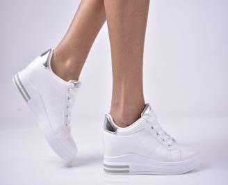 Дамски обувки на платформа бели XWOV-1013277