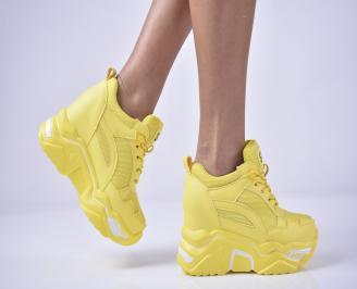 Дамски обувки на платформа жълт VUUV-1013278