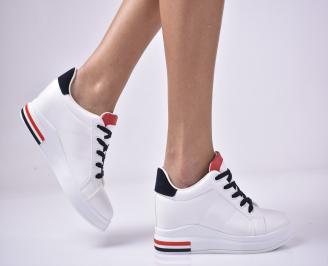 Дамски обувки на платформа бели SYZK-1013286