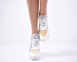 Дамски обувки на платформа бели BTQG-1013509