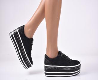 Дамски обувки на платформа еко велур черни KXFJ-1013540