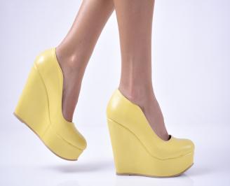 Дамски  обувки на платформа  жълти EPPT-1013546