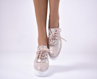 Дамски обувки на платформа естествена кожа пудра. KTDF-1013612