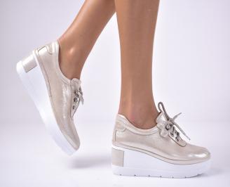 Дамски  обувки на платформа естествена кожа пудра YDLV-1013614