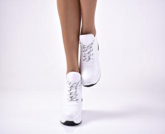 Дамски обувки на платформа еко кожа бели. SQRF-1013615