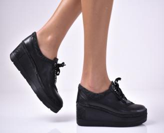 Дамски  обувки на платформа сестествена кожа черни YRBC-1013616