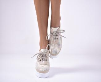 Дамски  обувки на платформа сестествена кожа бежови UFQQ-1013617