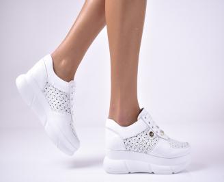 Дамски  обувки на платформа естествена кожа бели SOPX-1013618