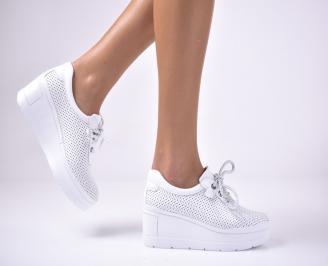 Дамски  обувки на платформа сестествена кожа бели CNKD-1013620