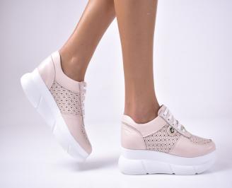Дамски  обувки на платформа естествена кожа пудра JMJE-1013621
