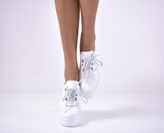 Дамски  обувки на платформа сестествена кожа бяли XTNC-1013622