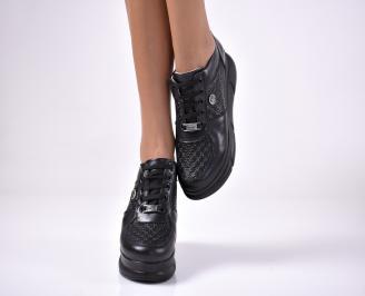 Дамски  обувки на платформа естествена кожа черни QIZK-1013624